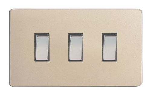 Varilight XDN93S Screwless Satin Chrome 3 Gang 10A 1 or 2 Way Rocker Light Switch (Twin Plate)